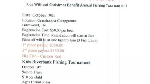 10/19 Wide Open Ministries Fishing Tournament Kids Benefit