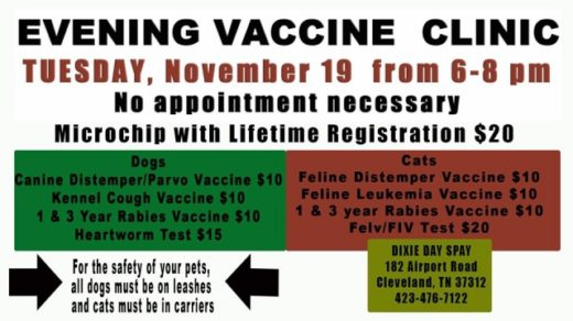 11/19 Evening Vaccine Clinic Hosted by Dixie Day Spay