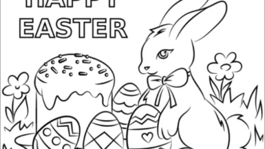 Happy Easter Coloring Page From PolkMix.com
