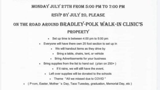 7/27 Polk and Bradley County Back to School Bash Grab and Go Drive Thru