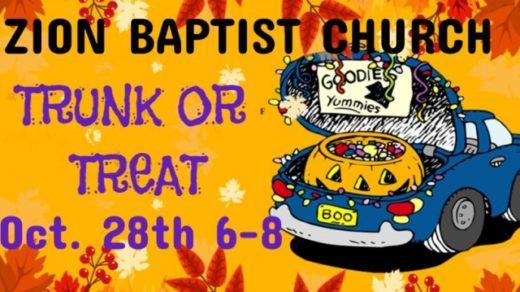 10/28 Zion Baptist Church Trunk or Treat Benton, TN