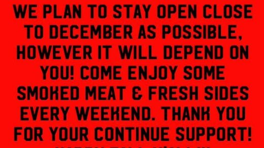 Hiwassee BBQ Reliance, TN Plans to Stay Open Until December