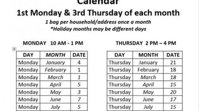 2021 Food Distribution Calendar of People Helping People Benton, TN