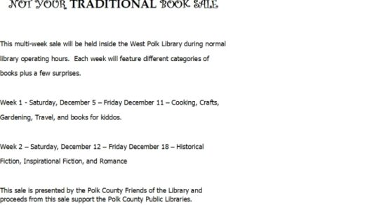 12/12-12/18 West Polk Public Library Non Traditional Book Sale