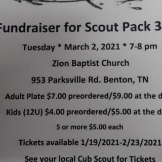 2/23 Spaghetti Dinner Fundraiser Ticket Deadline for Scout Pack 3411 Benton, TN
