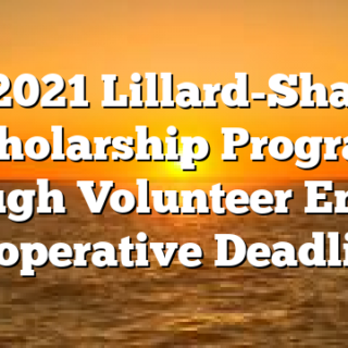 3/5 2021 Lillard-Shadow Scholarship Program through Volunteer Energy Cooperative Deadline