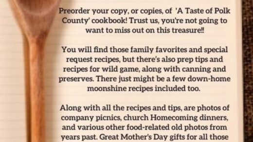3/20 A Taste of Polk County Cookbook Preorder Deadline