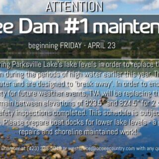 4/23 Ocoee Dam # 1 Maintenance Begins Benton, TN