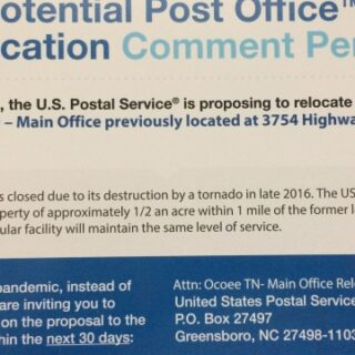 Potential Post Office Relocation Comment Period Open Ocoee, Tn