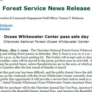5/8 Ocoee Whitewater Center Pass Sale Day